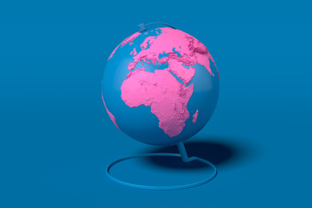 Earth globe with pink continents isolated on blue background. 3d rendering.