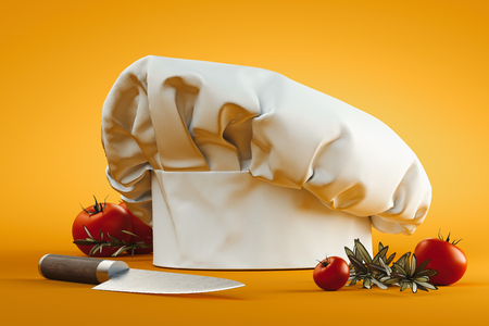 White cook hat or toque isolated on yellow background. 3d rendering. 免版税图像