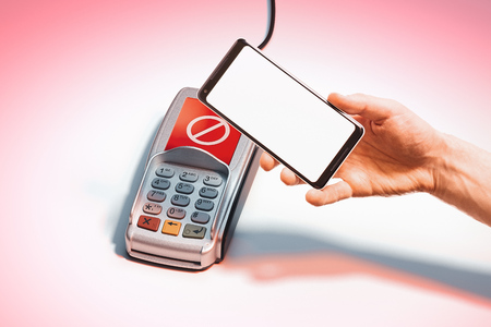 Hand, mobile phone with blank screen and POS payment terminal. 3d rendering.