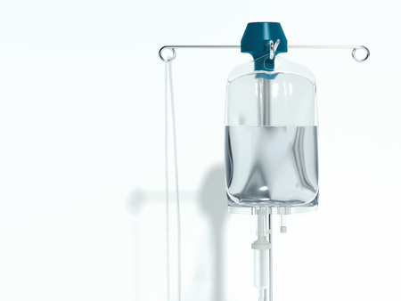 drop counter, infusion bottle, Infusion drip on white background. 3d rendering.