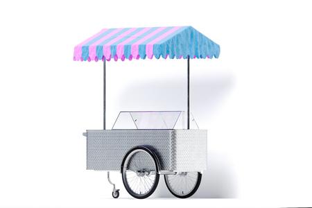 Chariot de crème glacée multicolore isolé sur fond blanc. rendu 3D.
