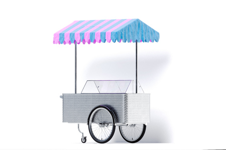 Multicoloured ice cream cart isolated on white background. 3d rendering.