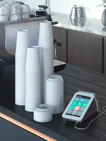POS payment terminal and takeaway coffee cups in modern cafe. NFC. 3d rendering. Stockfoto