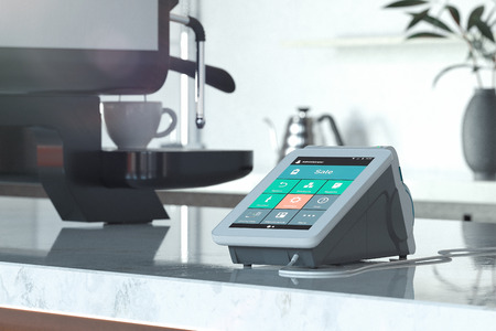 POS payment terminal and coffee machine in modern cafe. NFC. 3d rendering.
