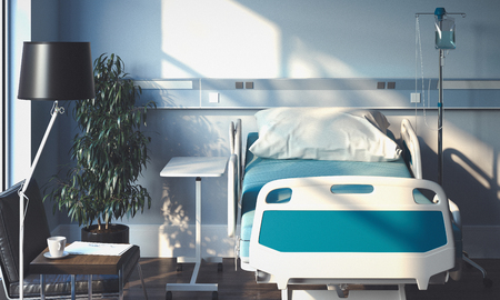 Recovery Room with bed and medical equipment n hospital. 3d rendering.