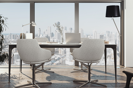 Bright conference room interior with big windows, white armchairs. 3d rendering.