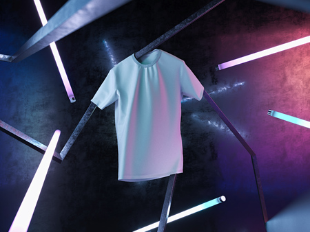 White blank t-shirt on neon illuminated abstract background. 3d rendering. Stock Photo