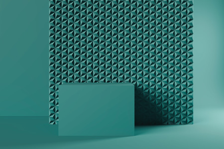 Modern Showcase with empty space on pedestal on green geometric background. 3d rendering. Minimalism conept Archivio Fotografico