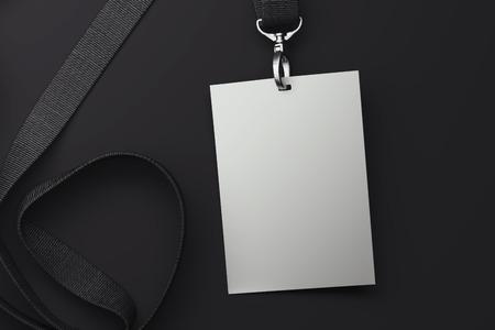 White blank badge on black lanyard. 3d rendering