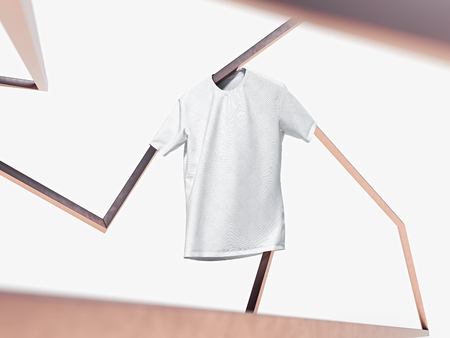 White blank t-shirt on bright metal abstract background. 3d rendering.