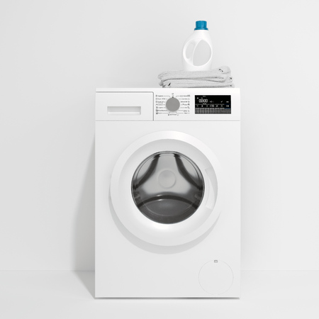 Realistic white washing machine and laundry detergent isolated on white background. 3d rendering.