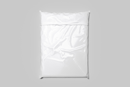 White realistic packet isolated on white background. 3d rendering. Top view. copy space. Empty space. Stock Photo