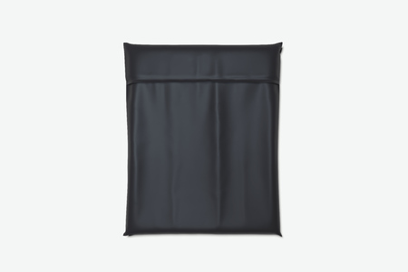 Black realistic packet isolated on white background. 3d rendering. Top view. copy space. Empty space.