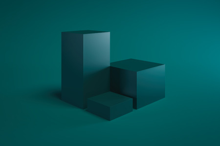 Modern Showcase with empty space on pedestal on green background. 3d rendering. Minimalism conept