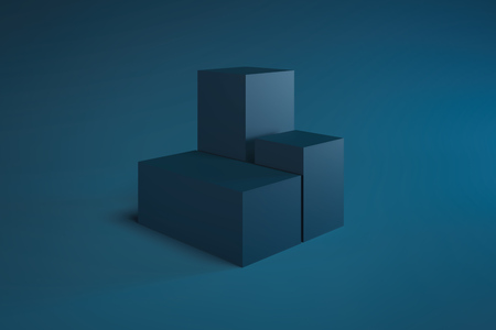 Modern Showcase with empty space on pedestal on blue background. 3d rendering. Minimalism conept
