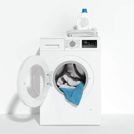 Realistic white washing machine, laundry detergent and dirty clothes inside isolated on white background. 3d rendering.