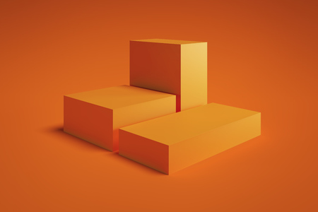 Moderner Schaukasten mit leerem Raum auf Sockel auf orangem Hintergrund. 3D-Rendering. Konzept des Minimalismus