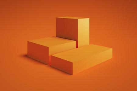 Vetrina moderna con spazio vuoto su piedistallo su sfondo arancione. rendering 3D. Concetto di minimalismo