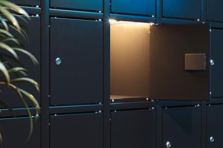 Safes mit eingeschaltetem Licht. Sicherheitsschränke. 3D-Rendering