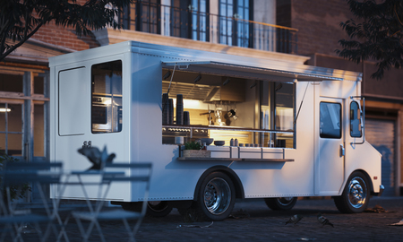 Food truck with detailed interior on street. Takeaway food. 3d rendering