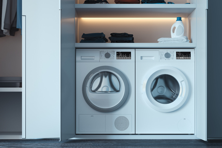 Washing and dryer machines with laundry detergent and clothes. 3d rendering. Reklamní fotografie