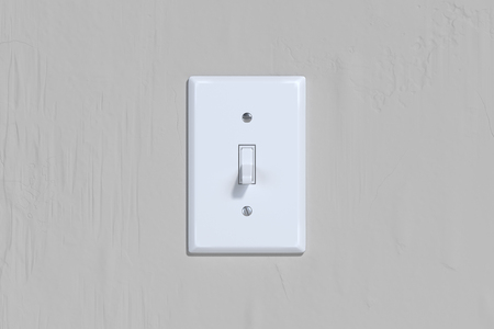 Ein- und Ausschalter. Lichtschalter an heller Wand. 3D-Rendering. Standard-Bild