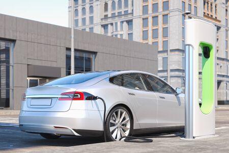 Elektrisches weißes modernes Auto in der Nähe von Ladestation für Elektroautos an der Straße. 3D-Rendering