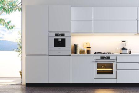 Interior of bright modern stylish kitchen with big windows sea view. 3d rendering. Banco de Imagens