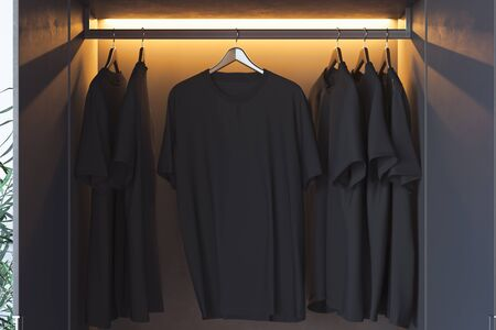Black blank t-shirt with copy space in modern cupboard. 3d rendering. Stock Photo