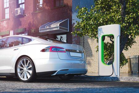 Elektrische witte moderne auto in de buurt van oplaadstation voor elektrische auto's op straat. 3D-rendering