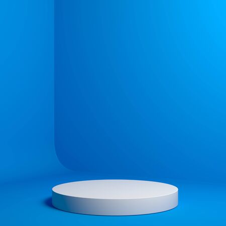 Modern Showcase with empty space on pedestal on blue background. 3d rendering.