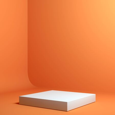 Modern Showcase with empty space on pedestal on orange background. 3d rendering.