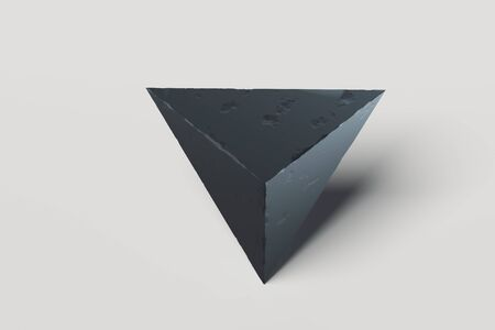 Modern triangle Showcase with empty space on pedestal. 3d rendering.