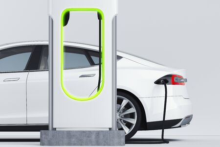 Electric white modern car near Electric car charging station. 3d rendering.
