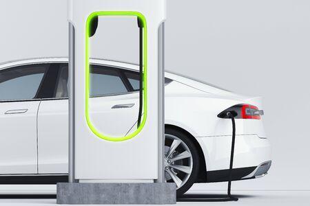 Elektrische witte moderne auto in de buurt van laadstation voor elektrische auto's. 3D-rendering. Stockfoto
