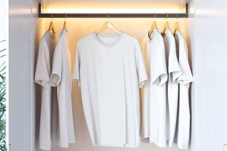 White blank t-shirt with copy space in modern cupboard. 3d rendering. 스톡 콘텐츠