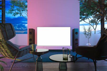 Leerer großer weißer Fernseher mit Kopienraum auf weißen Schrankfenstern mit Blick auf den schönen Garten, 3D-Rendering.