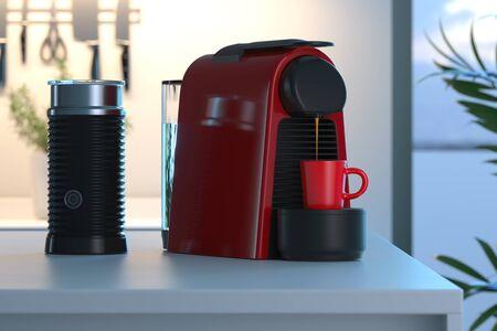 Máquina de cápsulas de café expreso en proceso de hacer café recién hecho en la luminosa y acogedora cocina moderna. Representación 3D.