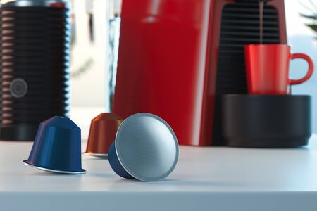 Espresso coffee capsules near coffee machine. fresh coffee in bright modern cozy kitchen. 3d rendering.