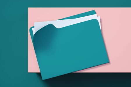 Turquoise folder with documents and white paper sheet on multicolored background. 3d rendering. 스톡 콘텐츠