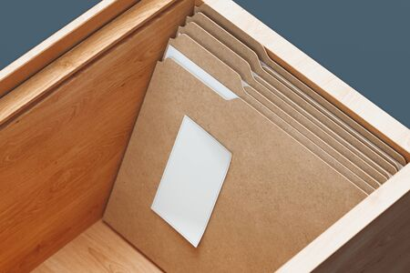 Cardboard folders with documents and white paper sheets in wooden box. 3d rendering.