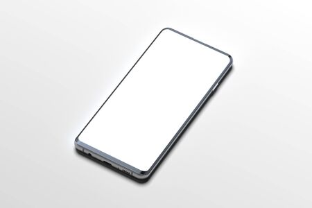 White Mobile phone with blank screen isolated on white background. 3d rendering. 스톡 콘텐츠