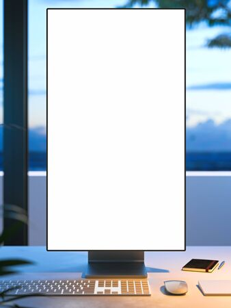 Blank big white monitor with copy space on desk on veranda with view on beautiful garden, 3d rendering.
