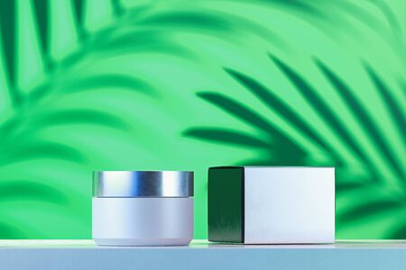 Cosmetic Bottle for cream, gel, lotion. cream jar and white blank cardboard box. 3d rendering.