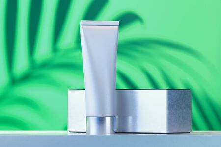 Cosmetic tube for liquid, cream, gel, lotion with white cardboard box. 3d rendering.