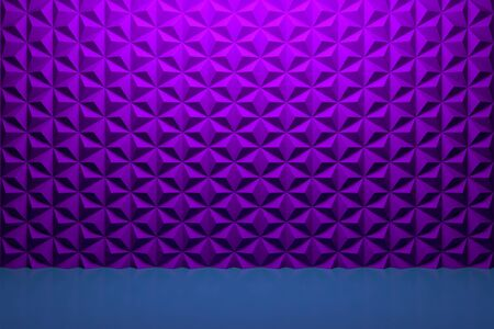 Modern Showcase with empty space on violet geometric background. 3d rendering.