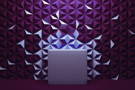 Modern Showcase with empty space on pedestal on violet geometric background. 3d rendering. Minimalism conept