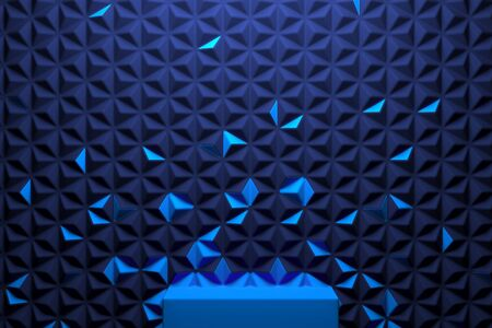 Modern Showcase with empty space on pedestal on blue geometric background. 3d rendering. Minimalism conept