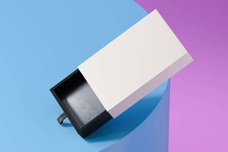 Blank white and black realistic cardboard box isolated on multicolored background. 3d rendering. 스톡 콘텐츠