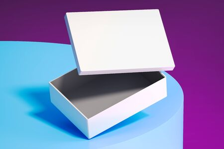 Blank white realistic cardboard box isolated on multicolored background. 3d rendering. 스톡 콘텐츠